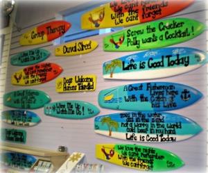 Deb Graffeo Handmade Surfboard signs
